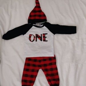 One year old lumberjack outfit